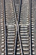 railway tracks and switch - stock photo