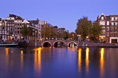 City scenic from amsterdam netherlands at twilight Stock Photos