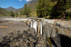 The Trois Roches Waterfall Stock Photos