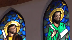 Stained glass in a Catholic Church in Taiwan Stock Footage