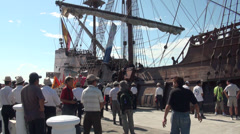 Sailors from Galeon Andalucia working on arrival at the port of Keelung Stock Footage