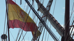 Stock Video Footage of Galleon Andalucia docked in the port of Keelung. Waving the taiwanese and