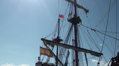 Galleon Andalucia docked in the port of Keelung. Waving the taiwanese and Stock Footage