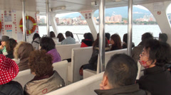 Travelling by boat through danshui river Stock Footage