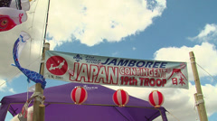 Japanese contingent at Camp jamboree Stock Footage