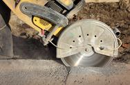 Stock Photo of construction site, cut tool for pavement