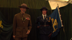 Lord Robert Stephenson Smith Baden-Powell wax statue with wax statue woman Stock Footage