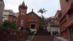 Catholic church in Danshui street Stock Footage