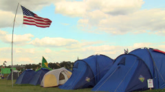 United state and brazilian flags in Camp Jamboree Stock Footage