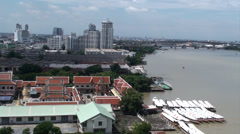 City view of Bangkok and the river Chao Phraya, Thailand Stock Footage