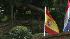 Spanish and Netherlands flag (Republic of China) in Fort San Domingo Stock Footage