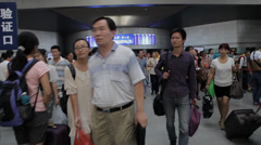 People walking in train station, Beijing, china. Stock Footage