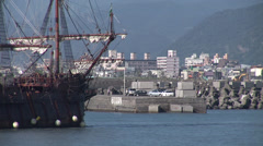 Galleon Andalucia sailing to Keelung in Taiwan - stock footage