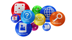 Group of Application Icons on white background Stock Footage