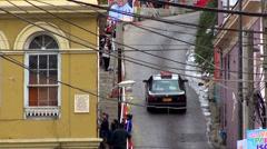 0719   Very narrow streets, Valparaíso Chile Stock Footage