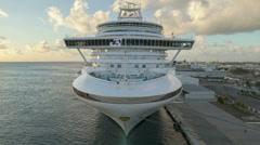 Time lapse Cruiseship leaving harbor Aruba - stock footage