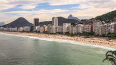 Beach Time Lapse Rio Copacabana Zoom Stock Footage