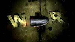 Flying of  Bullet in slow motion on background text  War Stock Footage