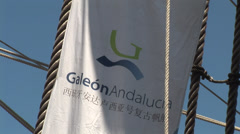Posters and signs of the Galleon Andalucia in Keelung - stock footage