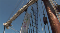 Posters and signs of the Galleon Andalucia in Keelung Stock Footage