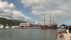 Galleon Andalucia docked in the port of Keelung Stock Footage