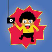 Electric shock vector cartoon - stock illustration