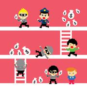 crime and people - stock illustration