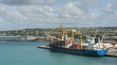 Timelapse Freighter loaded in Barbados - stock footage