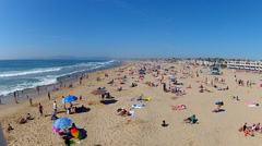Wide Northward View Of Beach At Hermosa Beach California Stock Footage