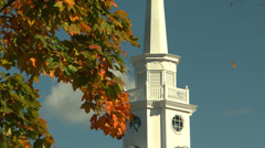Stonington, CT church in autumn. Stock Footage