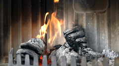 Wooden briquettes are almost burned out Stock Footage