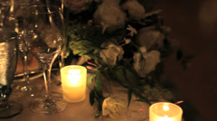 Pan of formal event table Stock Footage