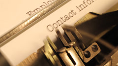 Job Application heading printed on an old typewriter. Stock Footage