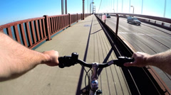 POV Bicycle rider San Francisco Bay Golden Gate Bridge traffic  USA - stock footage