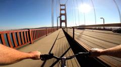POV Cycle rider physical energy Golden Gate Bridge San Francisco  USA - stock footage