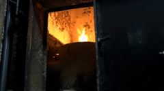Fire inside of a big furnace Stock Footage