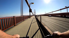 POV Bicycle rider San Francisco Bay Golden Gate Bridge people USA - stock footage