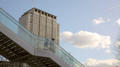 Shell building with bridge at southbank Stock Footage