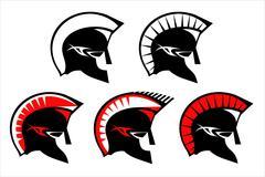A set of warrior heads Stock Illustration