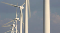 Turbines turning on wind farm - stock footage
