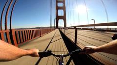 POV Cycle rider Golden Gate Bridge traffic San Francisco USA - stock footage