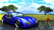 Stock Illustration of Non-branded generic concept car and bike