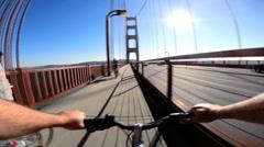 Stock Video Footage of POV Time lapse rider Golden Gate Bridge traffic San Francisco USA