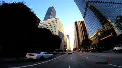 POV vehicle road traffic downtown built structure Los Angeles, USA - stock footage