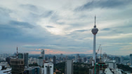 Stock Video Footage of Kuala Lumpur Skyline During Cloudy Sunset Pan Left