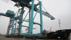 Huge Mobile Crane in Tianjin harbor,Tianjin, china. Stock Footage