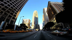 POV built structures intersection  Financial district Los Angeles California USA - stock footage