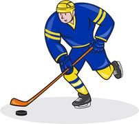 ice hockey player side with stick cartoon - stock illustration