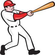 baseball player batting isolated cartoon - stock illustration