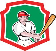Baseball player batting crest cartoon Stock Illustration